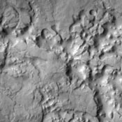 Mesas and valleys form the terrain called Margaritifer Chaos as shown in this image captured by NASA's 2001 Mars Odyssey spacecraft.