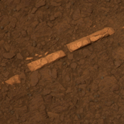 This color view from NASA's Mars Exploration Rover Opportunity of a mineral vein called 'Homestake' and is found to be rich in calcium and sulfur. 'Homestake' is near the edge of the 'Cape York' segment of the western rim of Endeavour Crater.