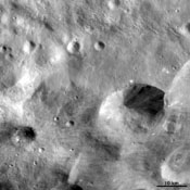 This image from NASA's Dawn spacecraft is dominated by bright rayed craters of different sizes. The most prominent bright rayed crater is name Tuccia.