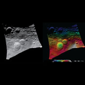 These images from NASA's Dawn spacecraft show the Domitia crater in Vesta's northern hemisphere and the topography of the surrounding region, which includes the 'Snowman' craters.