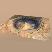 Gale Crater, where the rover Curiosity of NASA's Mars Science Laboratory mission will land in August 2012, contains a mountain rising from the crater floor.