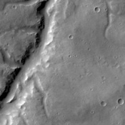 This image from NASA's 2001 Mars Odyssey spacecraft shows a portion of Samara Valles.