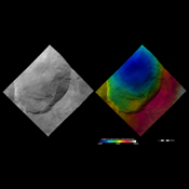 These images from NASA's Dawn spacecraft show Marcia crater, after which Marcia quadrangle is named. Marcia crater is the largest and southernmost of the three Vestan craters nicknamed the 'Snowman.'