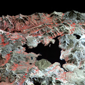 NASA's Terra spacecraft captured this image of the Laguna del Maule volcanic field which straddles the Andean range crest between Chile and Argentina.