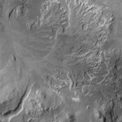 This image captured by NASA's 2001 Mars Odyssey spacecraft shows the delta deposit on the floor of Eberswalde Crater.