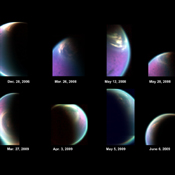 This series of false-color images obtained by NASA's Cassini spacecraft shows the dissolving cloud cover over the north pole of Saturn's moon Titan, allowing scientists to see the underlying northern lakes and seas, including Kraken Mare.