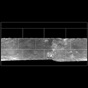 This mosaic depicts a portion of asteroid Vesta imaged by NASA's Dawn spacecraft where pockets of bright materials are visible.