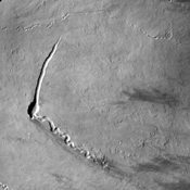 The small channels seen in this image from NASA's 2001 Mars Odyssey spacecraft are lava channels just southeastern of Pavonis Mons.