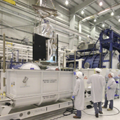NASA's Nuclear Spectroscopic Telescope Array, or NuSTAR, mission is lowered into its shipping container at Orbital Sciences Corporation in Dulles, Va. It is scheduled to launch from Kwajalein Atoll in the Marshall Islands on March 14, 2012.