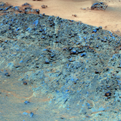 This false color mosaic from NASA's rover Opportunity shows a north-facing outcrop, informally named 'Greeley Haven.' This site optimizes Opportunity's solar energy as winter approaches.