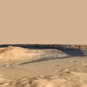 This image shows the target landing area for Curiosity, the rover of NASA's Mars Science Laboratory mission. The target, called 'Mount Sharp,' is near the foot of a mountain inside Gale Crater.