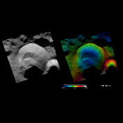 These images from NASA's Dawn spacecraft show Caparronia crater on asteroid Vesta.