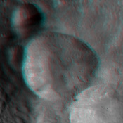 This anaglyph shows the topography of Vesta's