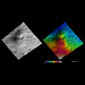 These images from NASA's Dawn spacecraft show the brightness/darkness of asteroid Vesta's surface. These images are located in Vesta's Marcia quadrangle.
