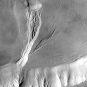 This image captured by NASA's 2001 Mars Odyssey spacecraft shows part of the caldera system on the summit of Olympus Mons.