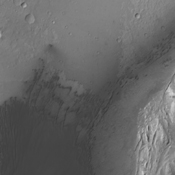 This image from NASA's 2001 Mars Odyssey spacecraft shows the dunes located on the floor of Gale Crater.