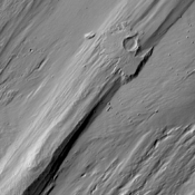 When a large impact occurs it vaporizes the surface and deposits hot debris around the newly formed crater as shown in this image captured by NASA's 2001 Mars Odyssey spacecraft.
