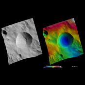 These images are located in asteroid Vesta's Rheasilvia quadrangle, near Vesta's south pole. These images are centered on the large Tarpeia crater.