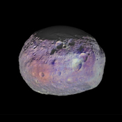 This image of asteroid Vesta is one of many images taken by NASA's Dawn spacecraft to create an animation showing the diversity of minerals through color representation.