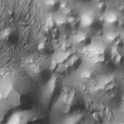 This image captured by NASA's 2001 Mars Odyssey spacecraft shows where Ares Vallis starts (top of image) from Iani Chaos (bottom of image).