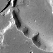 The unnamed channels in this image captured by NASA's 2001 Mars Odyssey spacecraft are located in Arabia Terra.