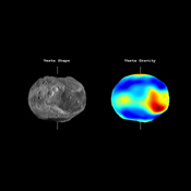 This frame from a video from NASA's Dawn mission shows that the gravity field of Vesta closely matches the surface topography of the giant asteroid Vesta.