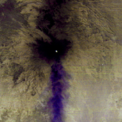 NASA's Terra spacecraft shows Popocatepetl, the nearly 18.000-foot-high volcano about 40 miles southeast of Mexico City, continuing to spew water vapor, gas, ashes and glowing rocks from its latest eruption, which started in mid-April 2012.