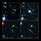 These images, taken with NASA's Galaxy Evolution Explorer and the Pan-STARRS1 telescope in Hawaii, show a brightening inside a galaxy caused by a flare from its nucleus. The arrow in each image points to the galaxy.
