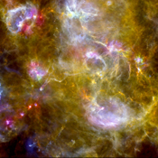 This new view of the Cygnus-X star-formation region by ESA's Herschel Space Observatory highlights chaotic networks of dust and gas that point to sites of massive star formation.