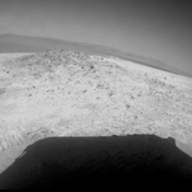 NASA's Mars Exploration Rover Opportunity drove about 12 feet (3.67 meters) on May 8, 2012, after spending 19 weeks working on the north slope of an outcrop called Greeley Haven while solar power was too low for driving during the Martian winter.