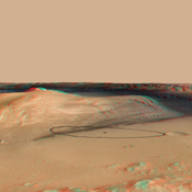 The site for NASA's Curiosity rover is near the northern flank of Mount Sharp, inside Gale Crater on Mars. You need 3D glasses to view this image.