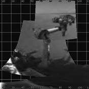 NASA's Mars rover Curiosity extended its robotic arm on Aug. 20, 2012, for the first time on Mars and used its Navigation Camera (Navcam) to capture this view of the extended arm.
