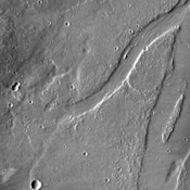 The channel on the right side of this image from NASA's 2001 Mars Odyssey spacecraft is located in the volcanic plains southeast of Alba Mons.