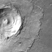 This image from NASA's 2001 Mars Odyssey spacecraft is of Lismore Crater. This crater, located in Chryse Planitia, is relatively unmodified, meaning it appears very much like it did when it first formed.