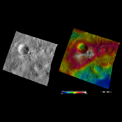 This image from NASA's Dawn spacecraft of asteroid Vesta shows Aelia crater, located in Vesta's Lucaria Tholus quadrangle, in Vesta's southern hemisphere.
