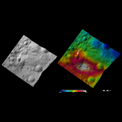 These images from NASA's Dawn spacecraft are located in asteroid Vesta's Numisia quadrangle, a few degrees below Vesta's equator.
