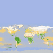 In this frame from an animation, NASA instruments show the seasonal cycle of vegetation and the concentration of carbon dioxide in the atmosphere.