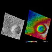These images from NASA's Dawn spacecraft are located in asteroid Vesta's Marcia quadrangle, just south of Vesta's equator.