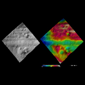 These images from NASA's Dawn spacecraft are located in asteroid Vesta's Gegania quadrangle, just south of Vesta's equator. Rubria, with dark and bright material is above Divalia Fossa, and Occia, with bright and dark material is below.