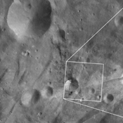 These images from NASA's Dawn spacecraft are located in asteroid Vesta's Urbinia quadrangle, in Vesta's southern hemisphere; many small boulders are visible on the right side of Sossia crater.