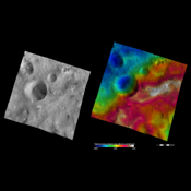 These apparent brightness and topography images from NASA's Dawn spacecraft are located in asteroid Vesta's Sextilia quadrangle, in Vesta's southern hemisphere.