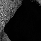 These images from NASA's Dawn spacecraft, located in asteroid Vesta's Marcia quadrangle, in Vesta's northern hemisphere, demonstrate a special analytical technique, which results in shadowed areas of Vesta's surface becoming illuminated.