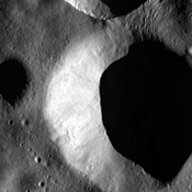 These images from NASA's Dawn spacecraft, located in asteroid Vesta'sFloronia quadrangle, in Vesta's northern hemisphere, demonstrate a special analytical technique, which results in shadowed areas of Vesta's surface becoming illuminated.