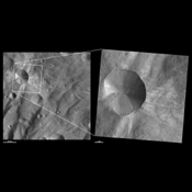 These images from NASA's Dawn spacecraft are located in Urbinia quadrangle, in Vesta's southern hemisphere.