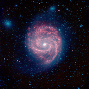 This infrared image, from NASA's Spitzer Space Telescope, of M100 is a classic example of a grand design spiral galaxy, with prominent and well-defined spiral arms winding from the hot center, out to the cooler edges of the galaxy.