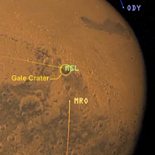 This frame from an artist's animation shows how NASA how orbiters over Mars will monitor the landing of NASA's Curiosity rover as it speeds towards its Martian landing site in Gale Crater.
