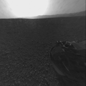 This is the full-resolution version of one of the first images taken by a rear Hazard-Avoidance camera on NASA's Curiosity rover, which landed on Mars the evening of Aug. 5 PDT (morning of Aug. 6 EDT). The image has also been cropped.