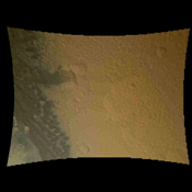 This color thumbnail image was obtained by NASA's Curiosity rover revealing surface features including relatively dark dunes, degraded impact craters and other geologic features including small escarpments.