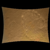 This color thumbnail image was obtained by NASA's Curiosity rover. A dust cloud was generated when the Curiosity rover was being lowered to the surface while the sky crane hovered above.