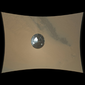 This color full-resolution image showing the heat shield of NASA's Curiosity rover was obtained during descent to the surface of Mars. This image shows the inside surface of the heat shield, with its protective multi-layered insulation.